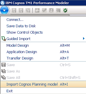 importing Cognos Planning into TM1