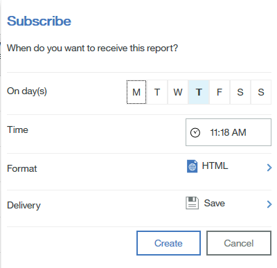 scheduling reports in Cognos BI