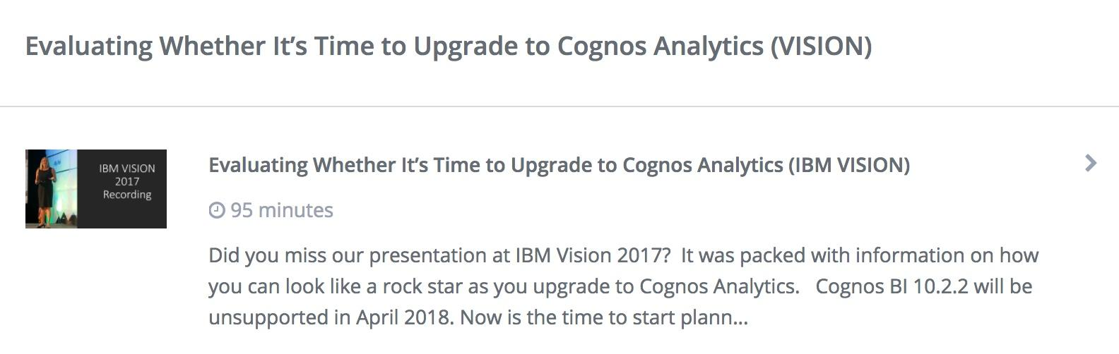 Upgrading to Cognos Analytics