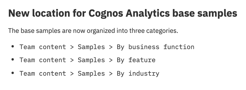 New Location for Cognos Analytics Base Samples