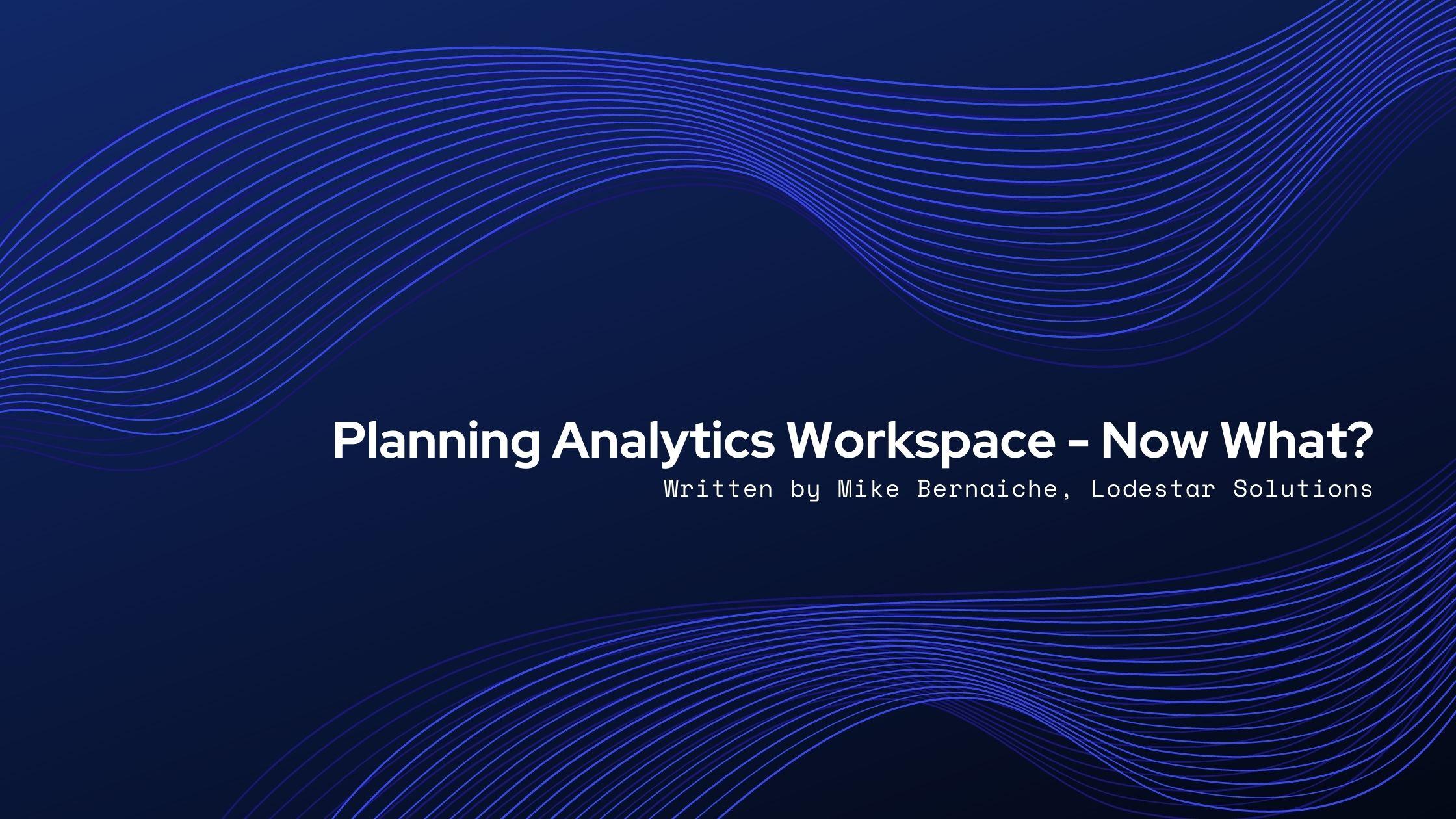 Planning Analytics Workspace - Now What?