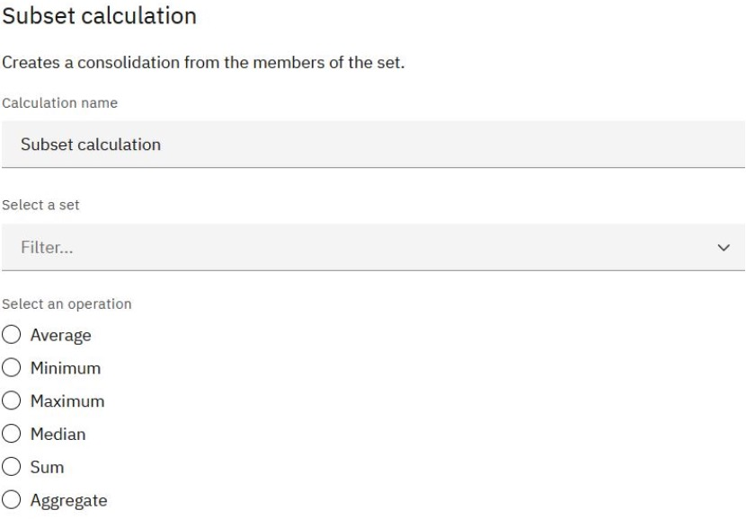 Calculations for Name Sets in Planning Analytics Workspace