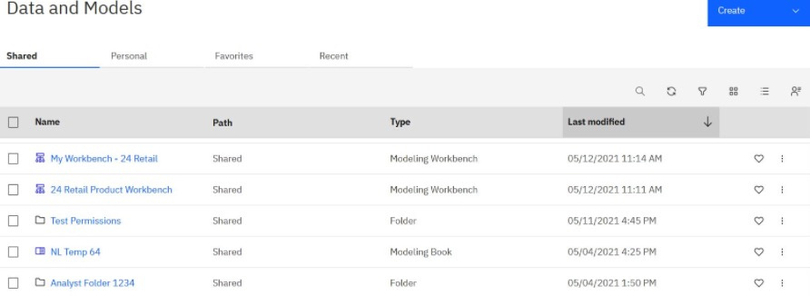 Data and Models Page in Planning Analytics Workspace
